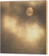 Sun Rising Through Fog Wood Print