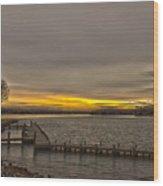 Sun Set At The Lake Wood Print