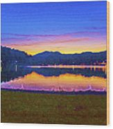 Sun Set On Lake Lure Wood Print