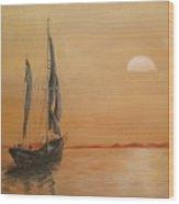 Sun Set On The Water. Wood Print