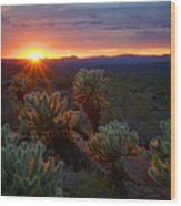 Sun Sets Over The Sonoran  Wood Print