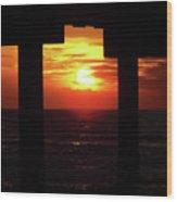 Sun Setting At The Pier Wood Print