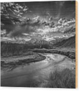 Sun Setting On The Owens River Wood Print