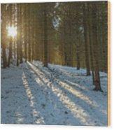 Sun Setting On Winter Woods Wood Print