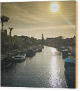 Sun Setting Over Canals Of Naples In Long Beach, Ca Wood Print