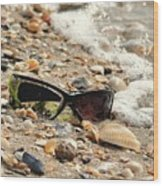 Sun Shades And Sea Shells Wood Print