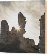 Sun Shining Through A Derelict Building At Occi In Corsica Wood Print