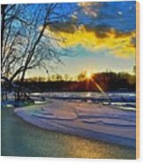 Sun Snow Ice Wood Print