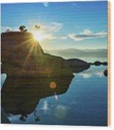 Sun Star Mirror Wood Print