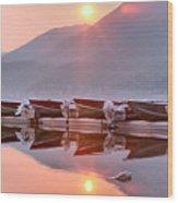 Sun Through Smoke At Mcdonald Wood Print