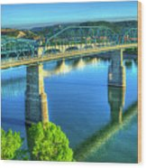 Sun Up Reflections Chattanooga Tennessee Wood Print