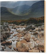 Sunbeams, Glencoe, Scotland Wood Print