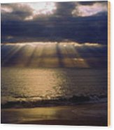 Sunbeams Radiating Through Clouds Before Sunset Wood Print