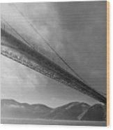Sunbeams Through The Golden Gate Black And White Wood Print