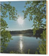 Sunburst Over The Reservoir Wood Print