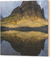 Sunburst Peak Reflection Wood Print