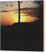 Sunburst Sunset Wood Print