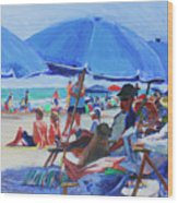 Sunday Beach Blues Wood Print
