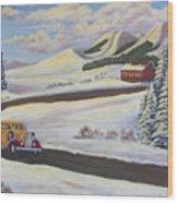 Sunday Drive In Winter Wonderland Wood Print