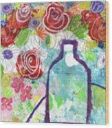 Sunday Market Flowers 2- Art By Linda Woods Wood Print