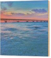 Sundown At Mackinac Bridge Wood Print