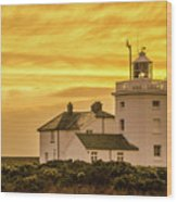 Sundown At The Lighthouse Wood Print