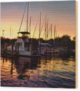 Sundown At The Marina 2 Wood Print