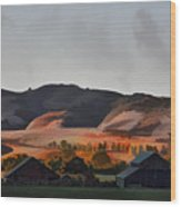 Sundown At The Ranch Wood Print