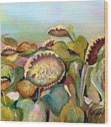 Sundown Flowers Wood Print