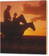 Sundown In Wyoming Wood Print