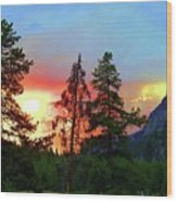 Sundown In Yellowstone Wood Print