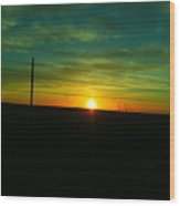 Sundown N The Fenceline Wood Print