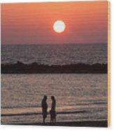 Sundown On Tel Aviv Beach Wood Print