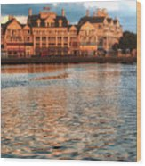 Sundown On The Boardwalk Walt Disney World Wood Print