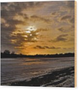 Sundown Over Ice Wood Print