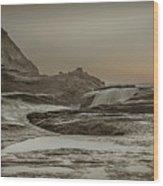 Sundown Over The Ocean Rocks Wood Print