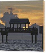 Sundown Pier Wood Print