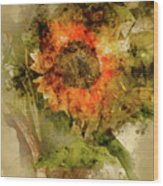 Sunflower Abstract Wood Print