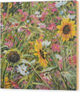 Sunflower And Cosmos Wood Print