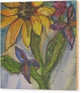 Sunflower And Friends Wood Print