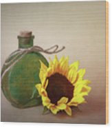 Sunflower And Green Glass Still Life Wood Print