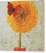 Sunflower And Red Butterfly Wood Print