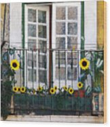 Sunflower Balcony Wood Print