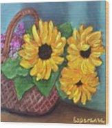Sunflower Basket Wood Print