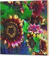 Sunflower Carnival Wood Print