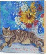 Sunflower Cat Wood Print