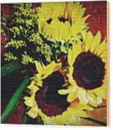 Sunflower Decor 3 Wood Print