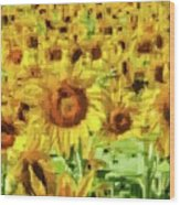 Sunflower Edges Wood Print