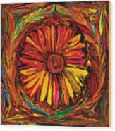 Sunflower Emblem Wood Print