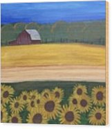 Sunflower Fields Wood Print